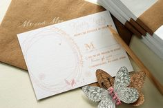reply cards with a space to doodle a note to the  bride and groom    #invitations #wedding #butterfly