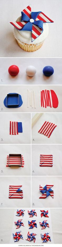 Too cute for Memorial Day and July 4th   DIY Patriotic Pinwheel Cupcakes in Red, White & Blue   by Carrie Sellman for TheCakeBlog.com