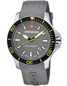 Wenger Mens Sea Force Dive Watch - Stainless - Grey & Yellow - Silicone Strap