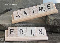 Personalized Scrabble Desk Sign  35 Letters by DellaCreations, $6.50
