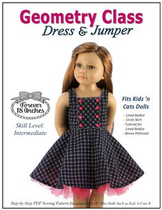 the Geometry Class Dress and Jumper, now resized for Kidz 'n Cats dolls!  Find it through PixieFaire.com...