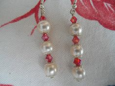 Pearl earrings pearl red earrings red Swarovski earrings silver pearl earrings…