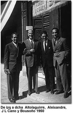 De izda. a decha: Manuel Altolaguirre, Vicente Aleixandre, JL Cano y Bousoño (1950)