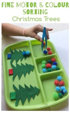 Fine Motor & Color Sorting Christmas Trees with felt trees and pompoms!  #preschool #preK #colorsorting #finemotor #finemotorskills #christmas #preschoolchristmas