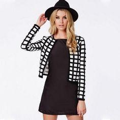 Casacos Femininos nova jaqueta básica 2015 mulheres brasão branco preto padrão de xadrez High Street Casacos mulheres curta Cropped brasão Jacket em Jaquetas Básicas de Roupas e Acessórios Femininos no AliExpress.com   Alibaba Group