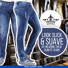 Head out for your next road trip wearing this pair of ‪#‎blue‬ colored ‪#‎jeans‬ from ‪#‎Goswhit‬. Tailored using stretchable cotton spandex, this pair will keep the wearer comfortable. Shop now at www.Goswhit.com