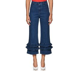 VIVETTA Women's Messico Ruffle Jeans (€390) ❤ liked on Polyvore featuring jeans, blue, zipper jeans, embroidery jeans, zipper fly jeans, vivetta and patched jeans