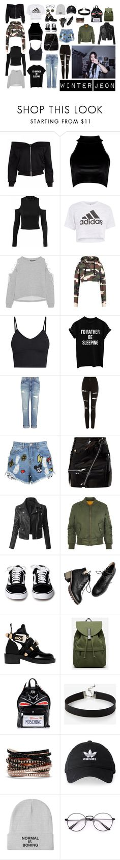 """""""Winter Jeon's Closet"""" by marylavey ❤ liked on Polyvore featuring Boohoo, Topshop, W118 by Walter Baker, BasicGrey, Current/Elliott, Disney Stars Studios, LE3NO, WearAll, Balenciaga and Everlane"""