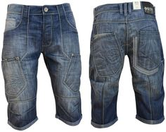Mens Crosshatch Combat Cargo Jeans Shorts Casual Denim Short Pants For Summer