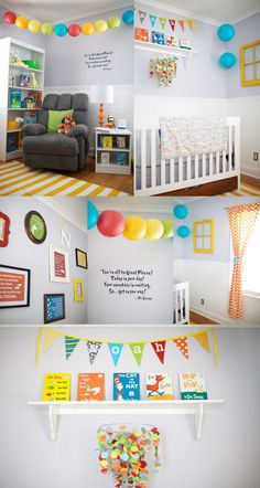 Dr. Suess Themed Nursery, Oh, the Places you'll go       Cute for a gender neutral playroom