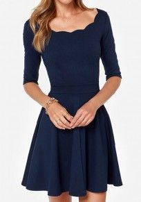 Dark Blue Plain Draped Wavy Edge Boat Neck Elbow Sleeve Dress