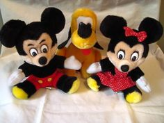 "7"" Disney Vtg Minnie Mickey Mouse Pluto Plush Lot of 3 Korea Stuffed Animal Toy"