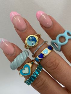 Nail Jewelry, Trendy Jewelry, Cute Jewelry, Jewelry Accessories, Trendy Accessories, Piercings, Aesthetic Rings, Looks Pinterest, Nail Ring