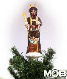 Krampus The Christmas Devil Glass Tree Topper