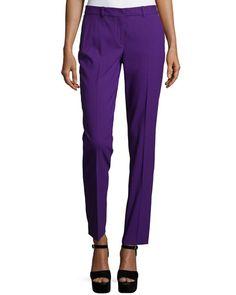 MICHAEL KORS Flat-Front Slim-Leg Pants, Grape. #michaelkors #cloth #flats