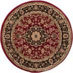 Barclay Medallion Kashan Red 7 ft. 10 in. x 7 ft. 10 in. Round Traditional Area Rug