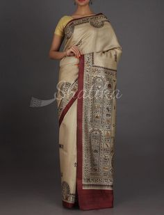 Devika Beige With Traces Of Maroon #MadhubaniHandPaintedSaree