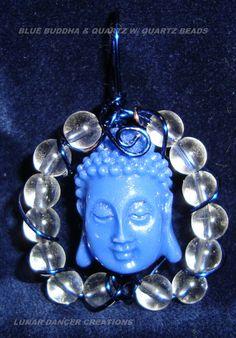 Blue Buddha w/ Quartz beads Pendant--Spiritual Communications--$15.00 + S&H