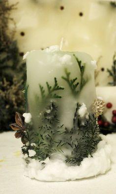 花キャンドル クリスマス雪景色