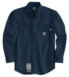Carhartt Flame-Resistant Twill Shirt with Pocket Flaps for Men - Dark Navy - XLT