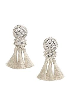 Earrings with plastic beads and tassels. Length 3 in. Beaded Tassel Earrings, Tassel Jewelry, Statement Jewelry, Beaded Jewelry, Rose Jewelry, Bridal Accessories, Women Accessories, Plastic Jewelry, Plastic Beads