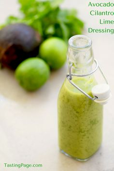 Avocado Cilantro Lime Dressing {Paleo, Vegan, — Tasting Page Spruce up your salad dressing with some avocado, cilantro and lime. It's great for a taco salad or even drizzled over a piece of fresh grilled fish or chicken. Dairy Free Recipes, Real Food Recipes, Vegan Recipes, Cooking Recipes, Gluten Free, Vegan Sauces, Dairy Free Dressing Recipes, Bbq Sauces, Smoker Recipes
