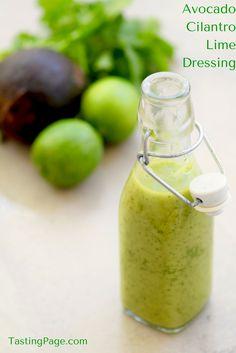 Avocado Cilantro Lime Dressing - gluten free, dairy free & vegan | TastingPage.com