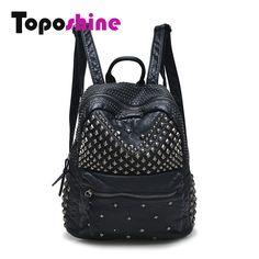 05f0fa1f3ee2 Toposhine Women Backpacks Washed Leather Backpacks Lady Girls Travel Women  Bags Rivet Backpacks Student School Bag Hot 15-107