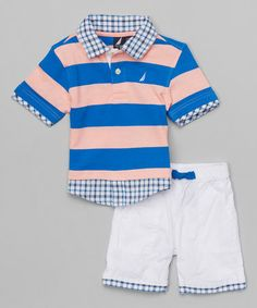 Another great find on #zulily! Camelia Stripe Polo & White Shorts - Infant, Toddler & Boys #zulilyfinds