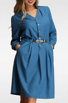 Fashionable Long Sleeve V-Neck Belted Dress For Women