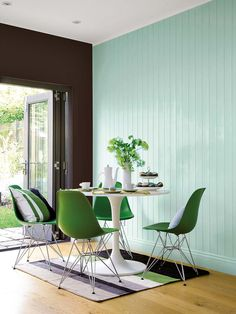 green Eames chairs and mint wall