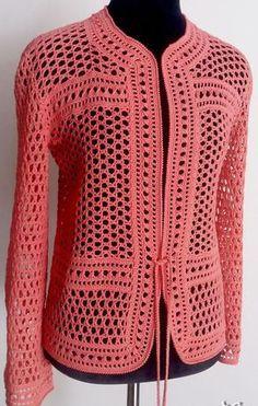 Salmon Crochet Jacke
