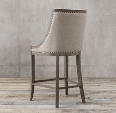 RH's 19th C. French Empire Fabric Stool:Modeled after an early 19th century original, our stool displays the spare, elegant lines characteristic of French Empire furnishings. Updated in oak, hand-hammered nailheads outline its signature gondola silhouette and low, sloping arms.