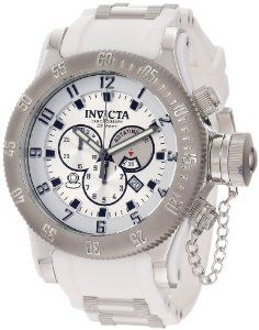 Invicta Men's 11314 Russian Diver Chronograph Silver Dial White Polyurethane Watch Invicta. $199.99. Silver dial with black hands, hour markers and Arabic numerals; luminous; unidirectional stainless steel bezel; secured screw-down cap on crown. Flame-fusion crystal; stainless steel case; white polyurethane strap with stainless steel barrel accents. Swiss quartz movement. Chronograph functions with rotating 60 second, 30 minute and 1/10th of a second subdials; date win...