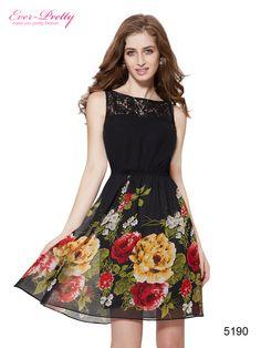 Sleeveless Black Lace Printed Short Dress For Women