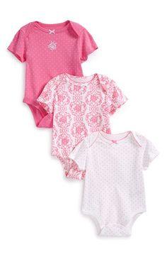 Little Me 'Damask' Cotton Bodysuits (Set of 3) (Baby Girls) | Nordstrom