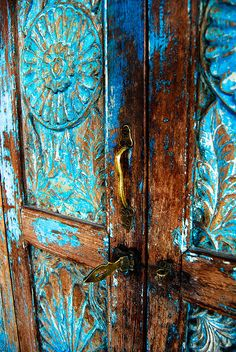Patina on Blue Doors! (Love the rich, vivid patina that has taken place overtime. Has given the doors so much presence. I am tactile and visually oriented and this does wonders for my senses). Cool Doors, Unique Doors, When One Door Closes, Door Knockers, Door Knobs, Door Latch, Closed Doors, Doorway, Windows And Doors