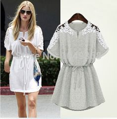 laced shoulder dress, available in grey and white $3.99 on Aliexpress