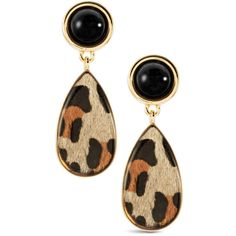 Carson Leopard-Print Earrings ❤ liked on Polyvore featuring jewelry, earrings, leopard jewelry, leopard earrings, leopard print earrings, glass jewelry and earring jewelry
