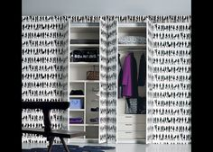Texture Fitted Wardrobe With Wallpapered Doors | Fitted Wardrobes