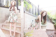 jang chom mi - floral dress with a cute hat Fashion Art, New Fashion, Trendy Fashion, Fashion Outfits, Fashion Design, Fashion Portfolio, Cute Hats, Ulzzang Fashion, White Outfits