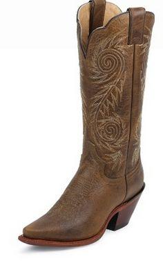 Justin Ladies Tan Damiana Cowgirl Boots