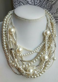 Check out this item in my Etsy shop https://www.etsy.com/ca/listing/493260233/chunky-pearl-rhinestone-statement