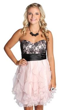 strapless lace homecoming dress with ruffles