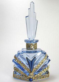Blue Jeweled Czech Perfume Bottle. #antique #vintage #perfume #scent #bottle