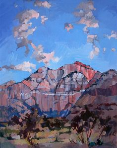 Sunset at Zion, impressionist oil painting by Erin Hanson. Sunset at Zion 2010 OIL ON CANVAS by erin hanson 24 x 30 in Beautiful sunset colors at Zion National Park. This painting captures the soft pink light reflecting off the mountain peaks.