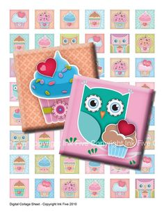 Cupcakes with Love 1x1 inch squares Digital Collage Shee by inkfive etsy
