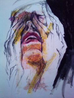 pencil, oil pastel on paper