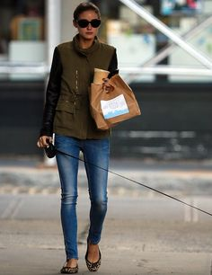 love her style, love this as a vest/layered not a coat + skinnies + print flats.