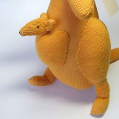 Australian kangaroo with Joey in pouch. Sock by lostsockshome